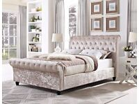 BrandNew Crushed Velvet Single Double Bed King Bed Luxury Mattresses From £159 Fastest Delivery