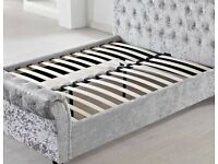 Best Quality - Sleigh Crush Velvet Bed Frame In Multiple Colors