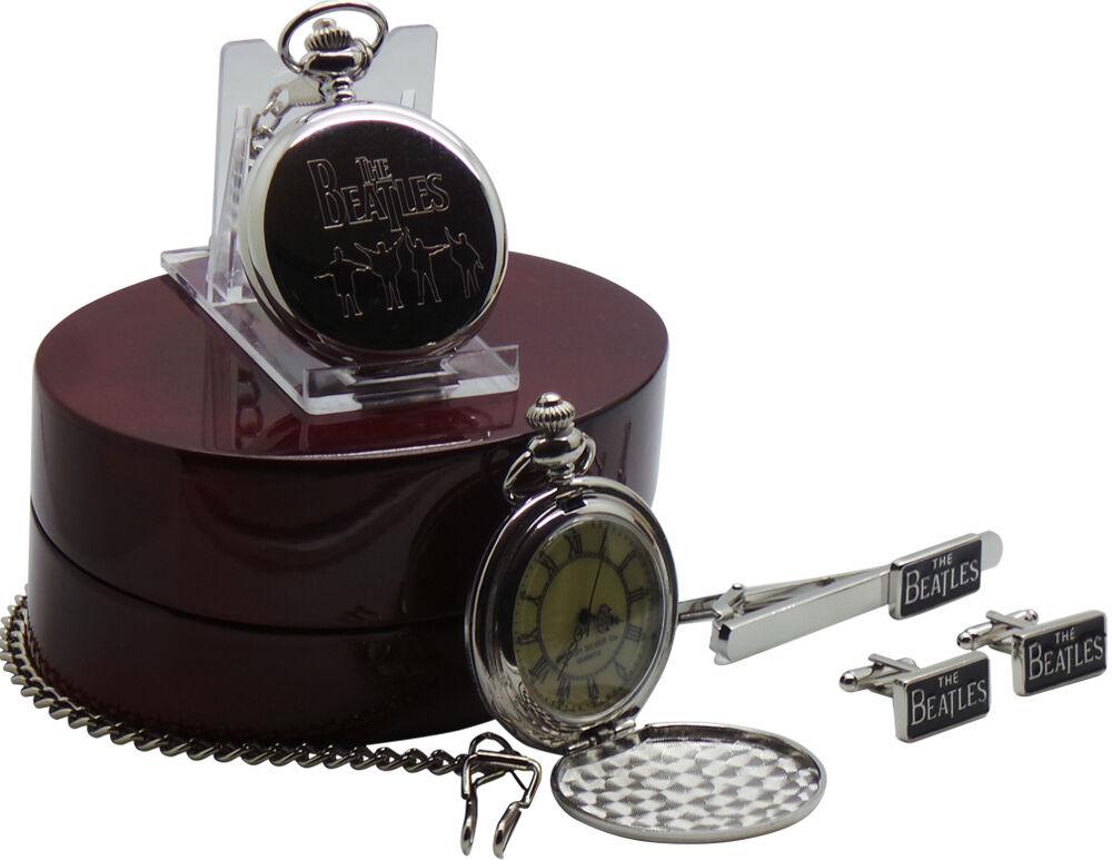 The Beatles HELP Pocket Watch Cufflinks Tie Clip Pin Luxury Wooden Gift Case Box