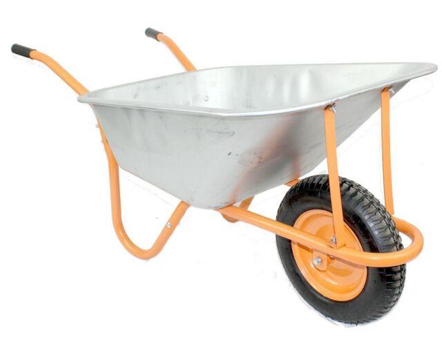 New DJM Heavy Duty Metal Garden Wheelbarrow With  Pneumatic Tyre 90Litre / 180Kg