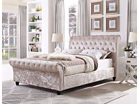 LIMITED OFFER !! CRUSHED VELVET FABRIC SLEIGH DOUBLE SIZE BED FRAME IN BLACK / SILVER