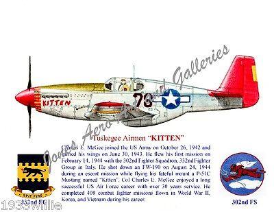 """Tuskegee Airmen Col Charles McGee P-51 Mustang """"Kitten"""" Print by Willie Jones Jr"""