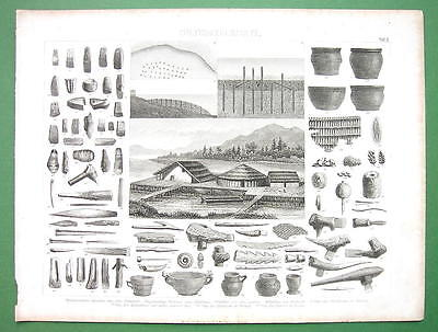 STONE AGE Artifacts Huts Italy Switzerland - Antique Print Engraving
