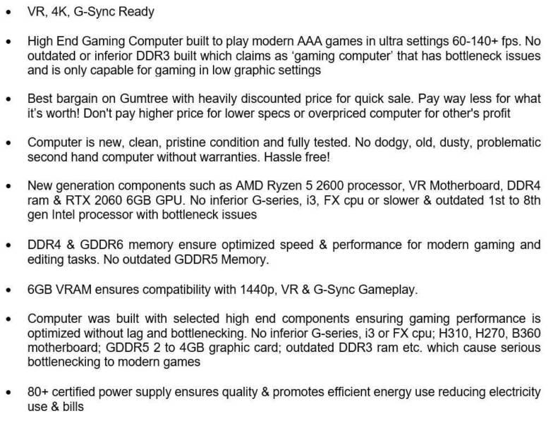 New Built Gaming Computer Ryzen 5 2600 Six Core, RTX 2060, 16GB D