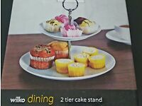 2 tier white ceramic cake stand