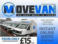 UK & EUROPE MAN & VAN FROM £15P/H, INSTANT ONLINE QUOTE, BRIXTON, GYPSY HILL, SYDENHAM, PENGE, CN