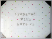 NEW Glass Trivet Chopping Board Worktop Saver Protector Prepared with Love Heart Print Large ❤️️