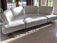 White leather sofa & stool.