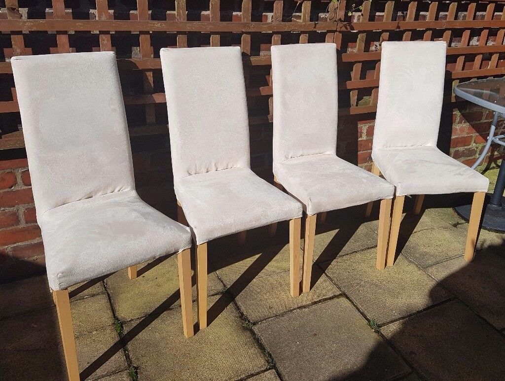 Set of 4 Cream dining room chairs