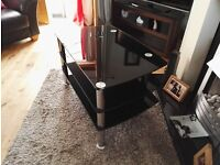 Black Glass and Chrome TV Stand **FREE** Buyer Must Collect