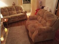 Lovely 3 and 2 seater sofas beige floral pattern superb condition cost £800 selling for £130