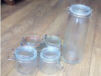 5x air tight jam jars
