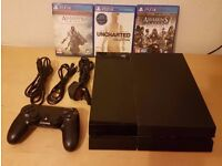 Sony Playstation 4 500GB PS4 with 1 controller and 3 games