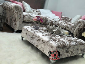 Brand New Large Chesterfield Corner sofa in Designer Cristina Marrone crushed velvet