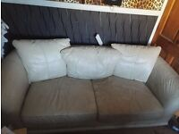 2 & 3 seater cream real leather sofa for sale very comfortable