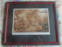 Military framed picture of a scene at the battle of Waterloo