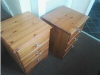 Set of Pine Bedside Drawers.