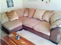 Fabulous corner sofa, brown suede and fabric