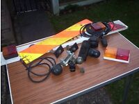 Towing hitch with bolts and electrics little used & old trailer board & related odds and ends.