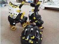 Rollerskates with helmet.