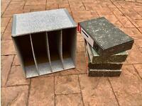 4 x Rigid Box Files and Cardboard Storage Rack