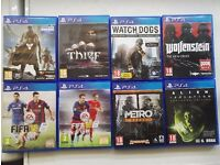 PS4 games, destiny, thief, watchdogs, wolfenstein, fifa 15, fifa 16, metro, alien, COD ghosts