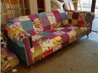 Brand New 4 Seater Chesterfield Multicoloured Patchwork Sofa. Paid 999 Never Been Sat On
