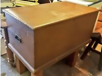 Vintage pine trunk, banket box, coffee table