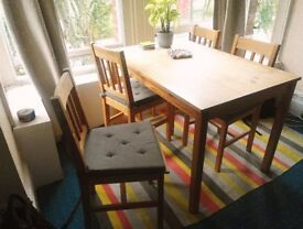 Wooden Table with 4 Matching Chairs