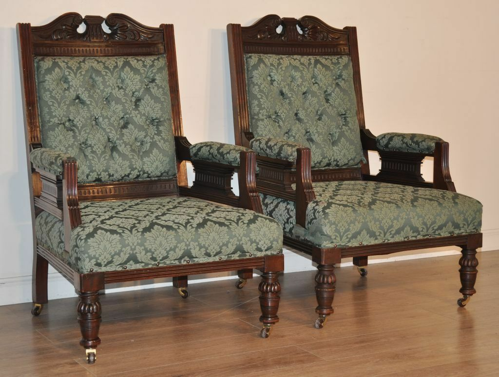 Attractive Pair Of 2 Antique Edwardian Carved Mahogany