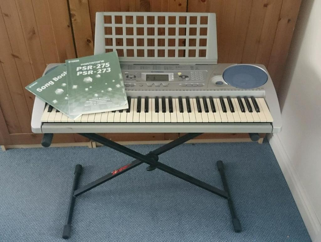 yamaha psr 275 portable keyboard and stand with cover. Black Bedroom Furniture Sets. Home Design Ideas