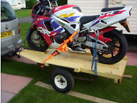 Motorbike trailer. Factory built chassis with suspension.