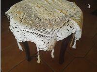 Pure White 100% Cotton Drawn Work Tablecloth