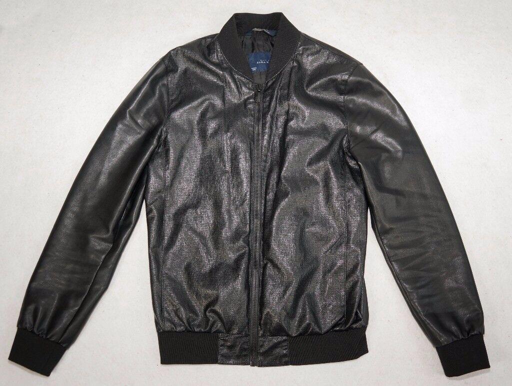 bcf35409 Zara Men - Black Faux Leather Bomber jacket - UK Size M (Medium ...