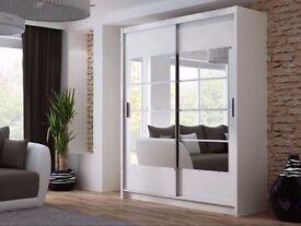 Brand New 180cm Torreo Sliding Door German Wardrobe Black, White and Oak Sanoma - 30 Days