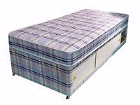 Single bed blue stripes