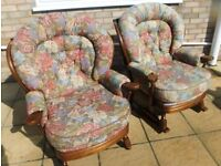 Two armchairs (1 rocking chair) wooden frames and removable cushions
