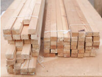 Planed square-edged timber moulding - 80 lengths 16 x 22 mm - originally for picture frames.