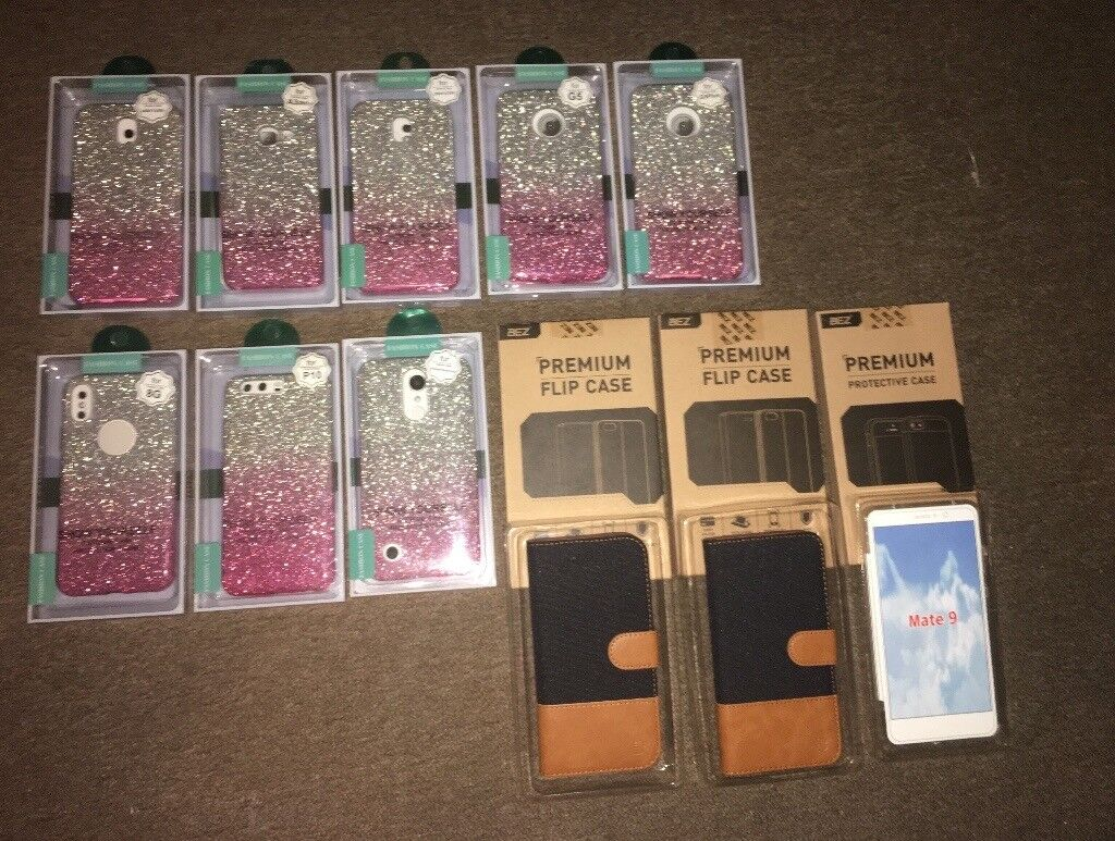 11 New & Boxed Phone Cases Cover Samsung, iphone, Moto, LG, Huwii Joblot, Glitter, Leather