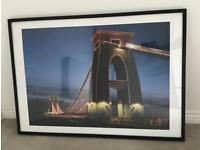 Wall hanging art, Bristol Clifton suspension bridge, canvas frame, art picture