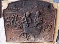 Vintage Fireplace plate in cast iron--- THE GRAPE HARVESTS---DELTA PL2098
