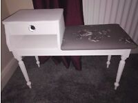 Shabby Chic Hall Phone Table Upcycled & Re-upholstered. White, Floral, Crystal Handle