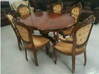 Italian inlaid dinning table & 6 chairs in vgc can deliver 07808222995