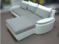 Corner sofabed with bedding box