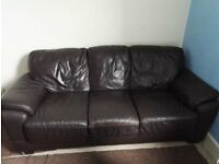 Leather Sofa Dark Brown (3 seats from pet and smoke free house)
