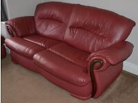 Red Brown All Leather Four Piece Suite (3 seat sofa, 2 chairs and footstool) Lovely Condition