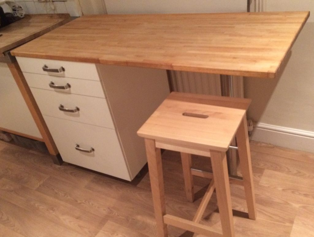 Ikea Freestanding Breakfast Bar With 4 Drawers And Solid