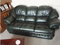 Leather Three Piece Suite (3 Seater Sofa, 2 x 1 Seater Chairs) Green
