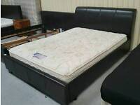 Leather king-size bed and mattress can deliver 07808222995