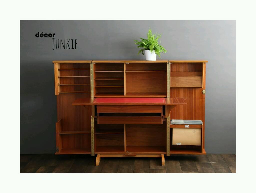 Vintage Teak Fold Away Home Office Craft Work Station Desk Storage